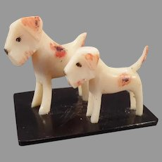 Vintage Celluloid Miniature Toy - Two Little Terrier Dogs