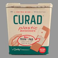 Vintage 1960 Curad Plastic Bandages Tin with Nice Advertising Graphics