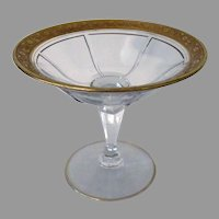 Vintage Heisey Glass Serving Dish - Rib & Panel Stemmed Compote with Gold Trim
