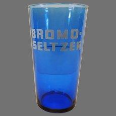 Vintage Bromo-Seltzer Advertising Glass Cobalt Blue with Dose Measuring Line