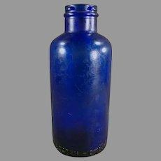 Vintage Cobalt Blue Glass Bromo-Seltzer Dispensing Bottle  - No Label