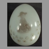 Vintage Blown Milk Glass Egg with Funny Decal of a Man in a Car