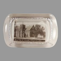 Vintage Glass Advertising Paperweight for the First Methodist Church Cheyenne, Wyoming