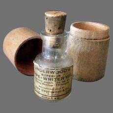 Vintage Underwood Typewriter Oil Bottle in Original Wood Box