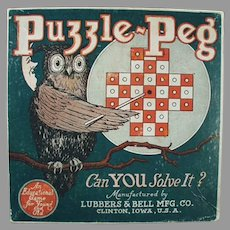 Empty Vintage Toy Box - Puzzle Peg Game Box with Fun Owl Graphics