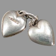 Vintage Silver Charm - Two Tiny Puffy Hearts Made in Mexico