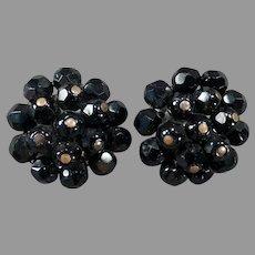 Vintage Laguna Costume Jewelry - Black Bead Cluster Clip-on Earrings