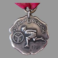 Vintage 1928 Sterling Silver 2nd Place Ice Skating Medal with Speed Skater