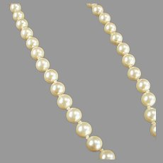 """Vintage 18"""" Single Strand Simulated Pearl Necklace - Classic Hand Knotted Look"""