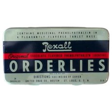 Vintage Medicine Tin - Old Rexall Orderlies Chocolate Flavored Laxatives Tin