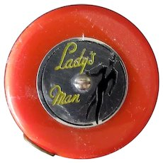 Vintage Lady's Man Tape Measure – Colorful Orange