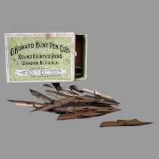 Vintage Howard Hunt No. 97B Falcon Pen Tips – Approximately 35 Nibs, Original Box