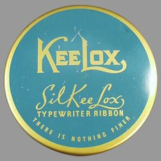 Vintage Blue & Gold SilKee Lox KeeLox Typewriter Ribbon Tin