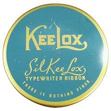 Vintage Blue & Gold SilKee Lox KeeLox Typewriter Ribbon Tin