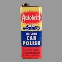Vintage Automotive Advertising Tin - Autobrite Car Polish, Johnson Wax Product