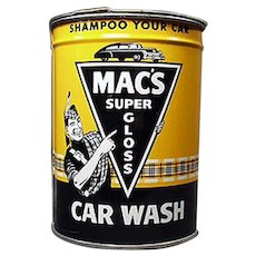 Vintage Automotive Advertising Tin - Mac's Car Wash Tin with Colorful Graphics