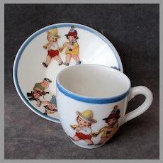 Vintage Ceramic Cup and Saucer - Adorable Little Children Playing Musical Instruments