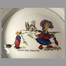 Vintage Mother Goose Nursery Rhyme Baby's Plate Feeding Bowl - Wellsville Ohio