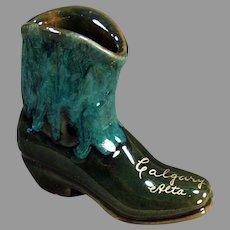 Small Vintage Pottery Boot Vase - Calgary Canada Souvenir - Pretty Glaze