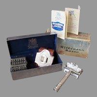 Complete Vintage Wilkinson Sword Razor 7 Day Model & Original Presentation Box with Instructions