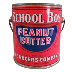 Vintage One Pound School Boy Peanut Butter Tin Pail - Rogers of Seattle, Washington