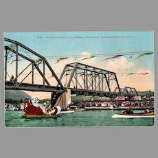 Vintage Northwestern Pacific Railroad Water Carnival Souvenir Postcard, Healdsburg California