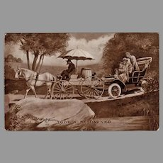 Humorous 1909 Antique Postcard with a Horse Cart and Old Automobile