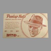 Vintage Advertising Blotter for Dunlap Hats for Men at Bond Clothes