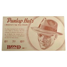 Vintage Advertising Blotter for Dunlap Hats for Men at Bond Clothes