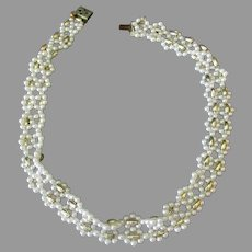 Vintage Small, Faux Pearl and Gold Bead Choker Necklace - Japan