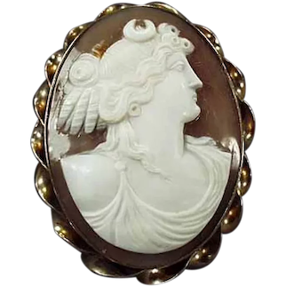Vintage Carved Shell Cameo Brooch - Grecian Goddess - Gold Filled Bezel Early 1900's