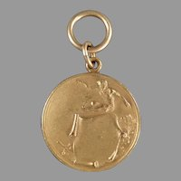 Vintage Track & Field High Jump Medal Sports Medal - Gold Colored