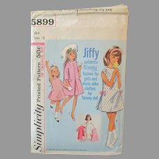 Vintage #5899 Simplicity Jiffy Pattern – Authentic Tammy Doll Fashion for Doll & Girl