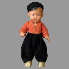 Vintage Celluloid Dutch Boy Doll in Original Clothes & Wooden Shoes -Plawo Holland