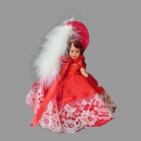 Vintage Nancy Ann Storybook Doll in Bright Scarlet Red Outfit – Hard Plastic