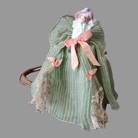 Vintage Porcelain Half Doll Boudoir Night Light Lamp with Original Frilly Dress Shade