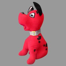 Vintage Stuffed Toy Dog - Red Velveteen Puppy with Black Spots