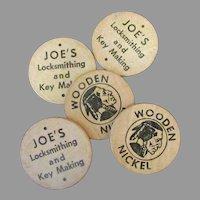 Vintage Wooden Nickel Advertising – Joe's Locksmithing & Key Making - 5 Wood Tokens
