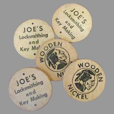 Vintage Wooden Nickel Advertising – Joe's Locksmithing & Key Making - 5 Wood Tokens