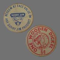 Vintage 8c Wood Nickel - Wooden Dickel Advertising Tokens from Sunny Jim