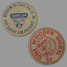 Vintage 8c Wood Nickel - Wooden Dickel Advertising Tokens from Sunny Jim