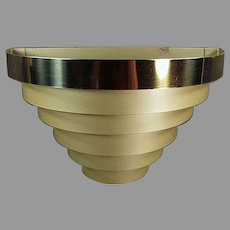 Vintage Deco Style Wall Sconce Electric Light Fixture - Tiered Banded Metal
