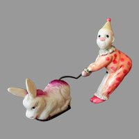Vintage Celluloid Wind-Up Toy - Clown and Donkey - See on Facebook