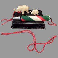 Vintage Miniature Celluloid Elephants - Desk Top Pencil Holder – Made in Japan