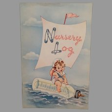 Vintage Baby Book Nursery Log – Child Growth Booklet with Adorable Graphics