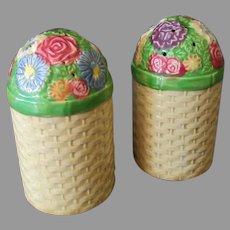 Vintage Basketweave and Flowers Salt and Pepper Set – Large Stove Size