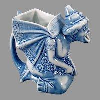 Vintage German Schafer and Vater Porcelain Pitcher - Blue Woman - S&V