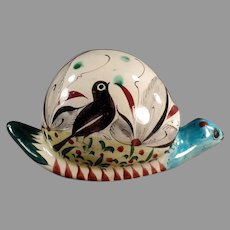 Large Vintage Mexican Pottery Snail with Colorful Bird Design