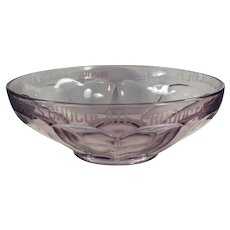 Vintage Bishop's Chocolate Advertising - Sun Purple Glass Bowl with Acid Etched