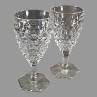 Two (2) Vintage Fostoria American Pattern Stemmed Water or Wine Goblets - 10 Available